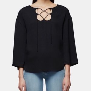 FRAME black crepe lace front top!